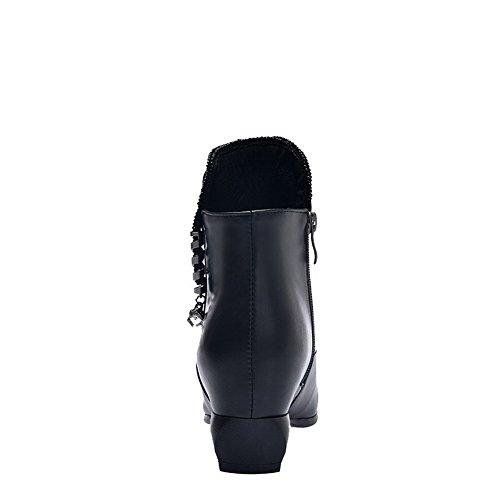 Altezza VogueZone009 Basso Tacco Nero con Metallo Puro Stivali Cerniera Bassa Donna 1Zq1W7nC