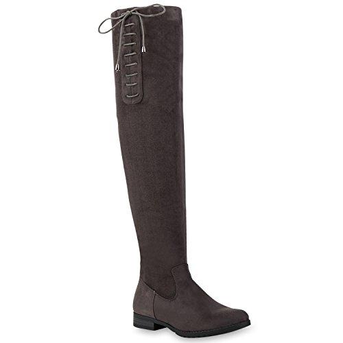 Basic Damen Overknees Schleifen Stiefel Samt Flach Langschaftstiefel Overknee Boots Schuhe 128547 Grau mit Schleife 37 Flandell