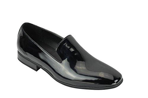 Xposed–scarpe scamosciate e lucido in vernice line slip on mocassini scarpe casual mod guida taglia uk 6789101111.5, nero (black patent), 41.5