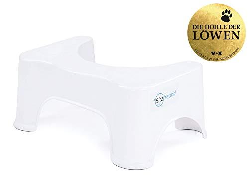 SITZFREUND der medizinische Toilettenhocker - für eine gesunde Haltung auf der Toilette - gegen Hämorrhoiden und Verstopfung - kleine Variante - Weiß