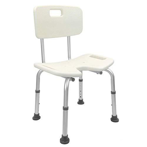 PrimeMatik - Sedia da Doccia Regolabile in Altezza per Anziani con orifizio