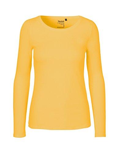 Green Cat- Damen Langarmshirt, 100% Bio-Baumwolle. Fairtrade, Oeko-Tex und Ecolabel Zertifiziert, Textilfarbe: gelb, Gr. XS - Baumwolle Pullover Pullover