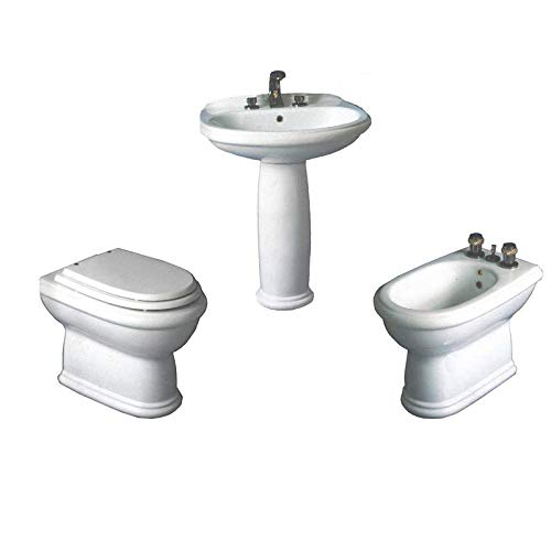 Set completo di sanitari bagno classici a terra distanziati da parete Ceramica Azzurra Midas