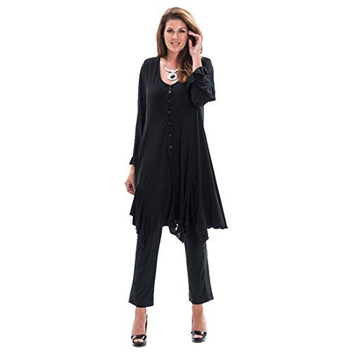 Piratenlook Extended Bluse Jacke Stretch schwarz Größe 56 / 58
