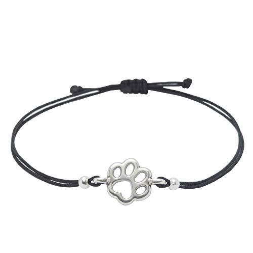 Pfoten Armband Silber Schwarz von SelfmadeJewelry - Handmade & Größenverstellbares Armkettchen