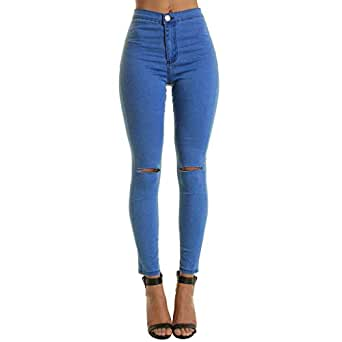 Donna Elasticizzato Strappato Slim Fit Skinny Denim Jeans Taglia 6 8 10 12 14 16