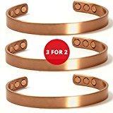 3 für 2 SUPER-EINSPARUNGEN. Verkaufsschlager magnetische Kupfer-Armbänder gegen Arthritis für Männer oder Frauen.