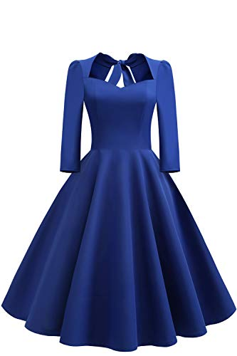 MisShow 1999er Damen Pin up Vintage Kleid Cocktailkleid Schleif mit Herzform 3/4 Ärmel König Blau Gr.M