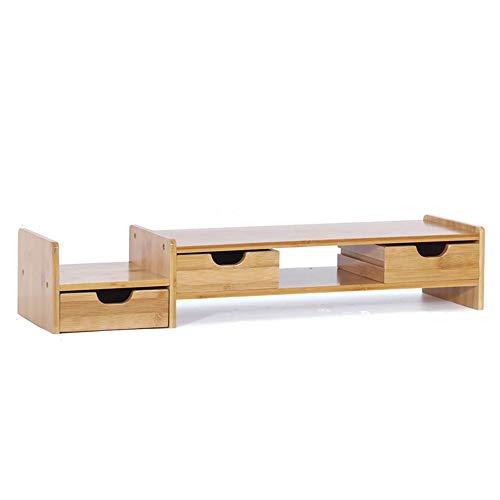 Monitorständer Riser Bambusständerhalter mit 3 Schubladen für Computer, Laptop, IMac, Schreibtisch, Stifte, Telefone, Taschenrechner (Farbe : Bamboo, Größe : 70 * 13 * 19cm)