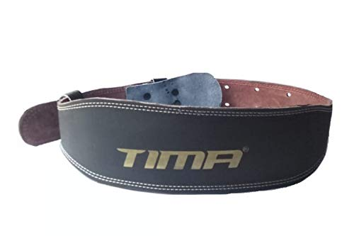 Tima Gym Belt with Steel Roller Buckle Foam Padded Black (Small Size) 28-36 inch