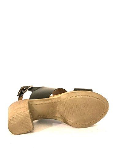 Sandali tacco alto NN03 in pelle con cinturino cuoio nero MainApps Nero