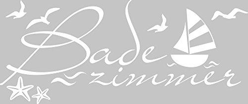 GRAZDesign 650230 Wandtattoo Badezimmer maritim mit Seesternen | auf Spiegel – Wand – Fliesen klebbar | Tür-Aufkleber WC