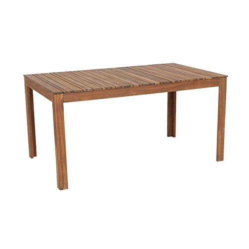 greemotion 128668 Gartentisch SYLT aus Holz-Esstisch Garten, Terrasse & Balkon-Holztisch rechteckig aus Akazie massiv-Tisch wetterfest für draußen, Braun, 15,4 x 9,2 x 1 cm