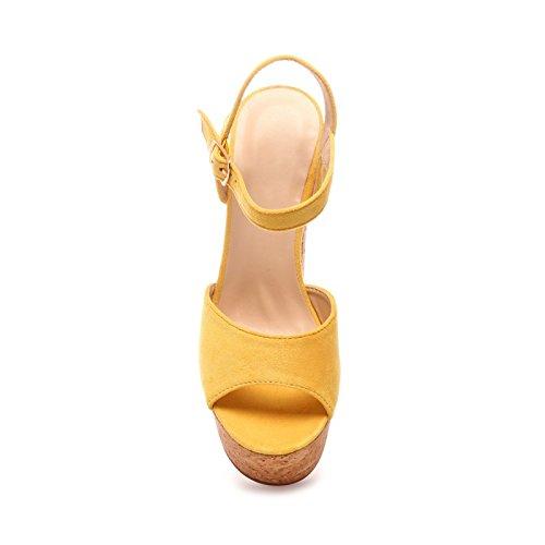 La Modeuse - Sandales à plateforme effet liège Jaune