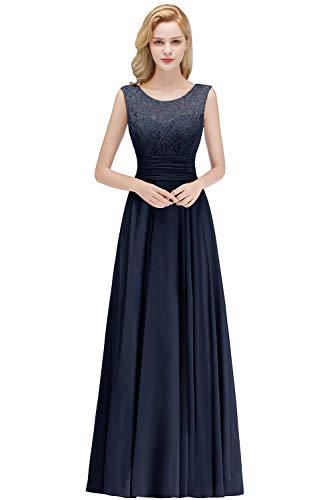 Babyonlinedress® Damen Kleider Langes Festliches A Linie Brautjungfernkleid Tüll Abendkleid Cocktailkleid Faltenrock Navyblau 36