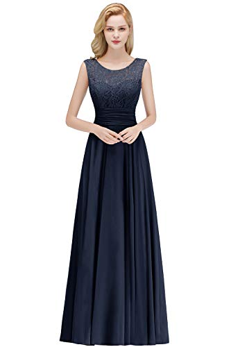 Babyonlinedress® 2019 Damen Spitze Tanzkleid Partykleid Prom Dress Chiffon Brautkleid Hochzeitskleid Navyblau 40 -