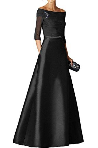 Charmant Damen Royal Blau Satin Langarm U-ausschnitt Abendkleider Partykleider Brautmutterkleider Lang Schwarz