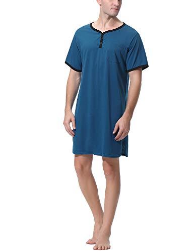 themd Kurzarm Sleepshirt Schlafanzug Herren Sleepshirt Bequeme Nachtwäsche mit Tasche für Spa Krankenhaus ()