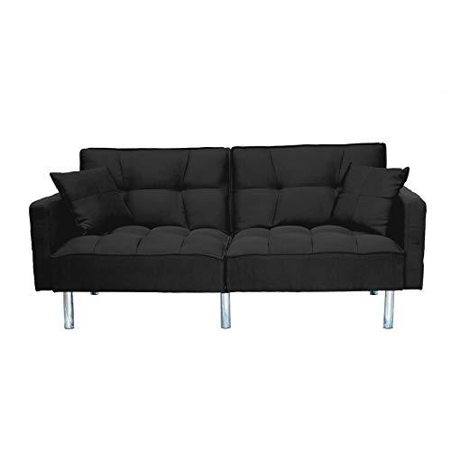 Sofa divano letto nero reclinabile in tessuto nero 3 posti con 2 cuscini 196 x 65 x 83 cm