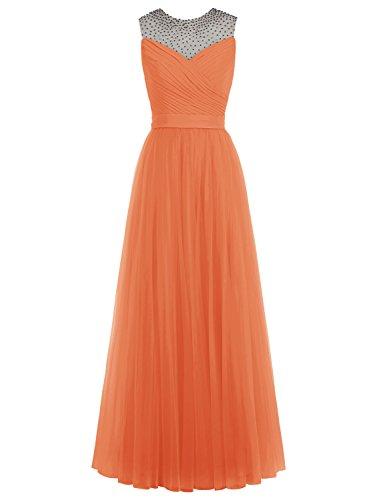 Bbonlinedress Robe de soirée Robe de demoiselle d'honneur en tulle forme empire longueur ras du sol Orange