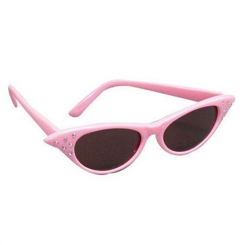Damen Mädchen 50er Jahre Rock Rolle Retro Fett Pudel Schal Brillen Maskenkostüm - Rosa Sonnenbrille