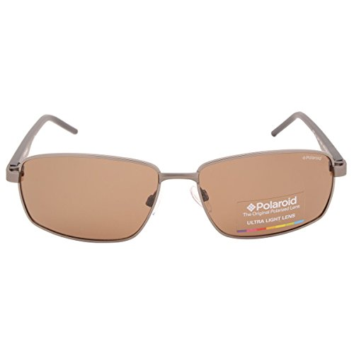 Polaroid Polarized Rectangular Men's Sunglasses - (PLD 2041/S RW2 59IG|59|Brown Color) image