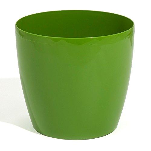 Pot de fleur cache pot bac a fleur en plastique rond hauteur 26 cm capacite 13 L vert