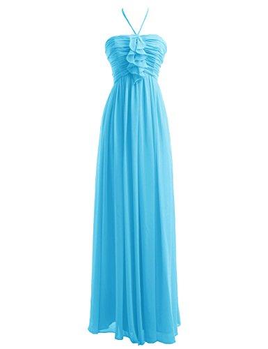 Dressystar Fourreau, Robe de demoiselle d'honneur/de soirée longue, au drapé, Plissée, Dos Nu, en Mousseline Bleu