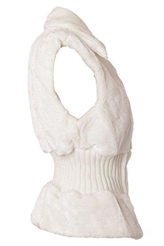 Gilet en fourrure avec empiècements tricotés & fermeture éclair Blanc - Ivoire