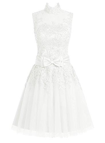 Dressystar Damen Kurz Brautkleid für Standesamt Spitze Weiß