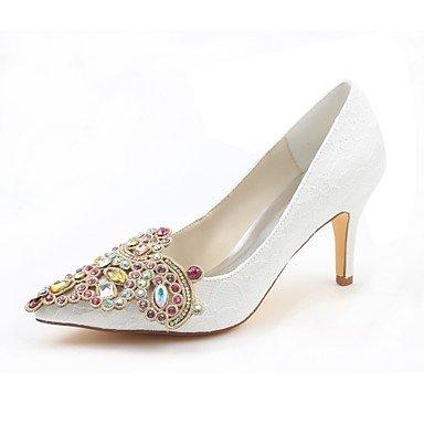 Wuyulunbi@ Scarpe da donna in raso elasticizzato caduta della molla della pompa base scarpe matrimonio Stiletto Heel Punta Cristallo per Party & abito da sera Un