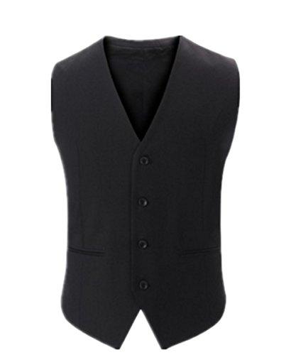 EMIN Herren Anzugweste Gentleman Basic Mode Einreiher Vier Knöpfe Weste Herrenweste Weste für Hochzeit Fest Business Herren Schmale Weste (Fett Trachten Jacke)