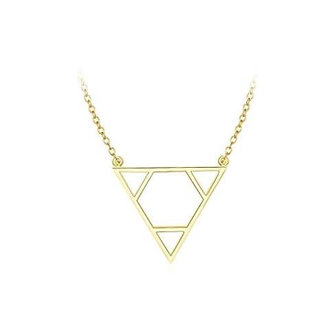Epinki Gold Plated Womens Girls Pendant Necklace Triangle Shape Gold