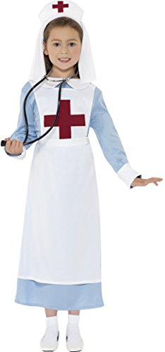 Smiffys Kinder Mädchen Fancy Dress World War 1Krankenschwester Kostüm Kinder Komplettes Set blau (Smiffys Nurse Kostüm)