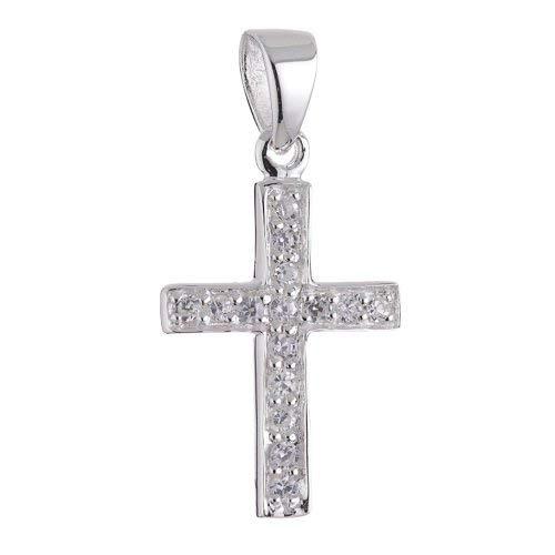 Vinani Anhänger Kreuz schmal Zirkonia weiß Sterling Silber 925 AKS-EZ