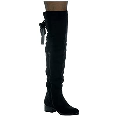 Angkorly - Women's Fashion Shoes Thigh Boot - Cavalier - Soft - Satin lace Block high Heel 3.5 cm 2