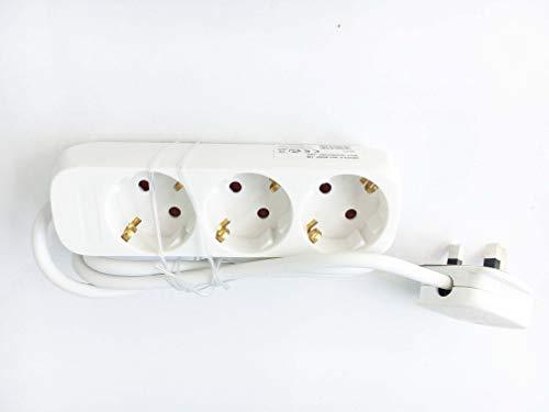 Reino Unido Euro Adaptador de Viaje Adaptador 1,5m Extensión Lead 3Way Tipo E/F Schuko Sockets con Tipo G UK Plug