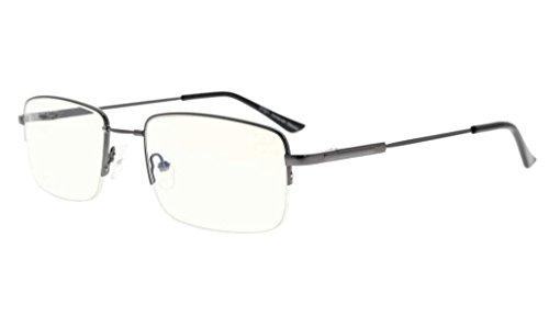 Eyekepper Halber Felge Lesen Gläser-Blau Licht Blockierung-Reduzierte Auge Belastung-Memory Computer Brille Titanium Leser Männer, Transparente Linse (Gunmetal,+1.25)