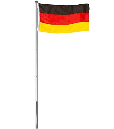Brubaker Aluminium Fahnenmast Flaggenmast 4 m Inklusive Deutschland Flagge 150 x 90 cm und Bodenhülse