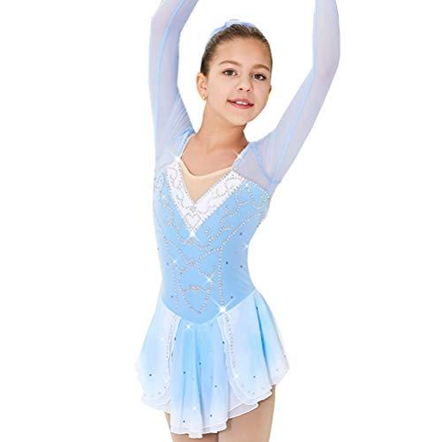 HAOBAO Einfach Handgefertigt EIS Eiskunstlauf-Kleid für Mädchen Lange Ärmel Roller Skating Rock Strass-Trikot Gymnastik Skating Leistung/Wettbewerb Kostüm, XS