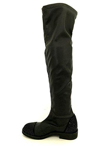 Stivali elasticizzati in pelle strass overknees Divine Follie MainApps Nero