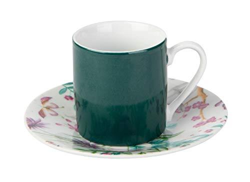 KASA Kaffeeservice für 6 Personen, Blumendesign, Grün