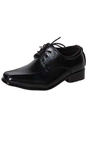 Junge Derby Schuh 3 Löcher schwarz Schnürung Schwarz