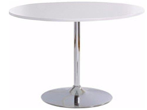 Loft24 TROMPET Esszimmertisch Esstisch Küchentisch Bistro Cafe Bar Tisch Trompetenfuß Metall ø110 cm Rund Modern (Weiß Hochglanz) -