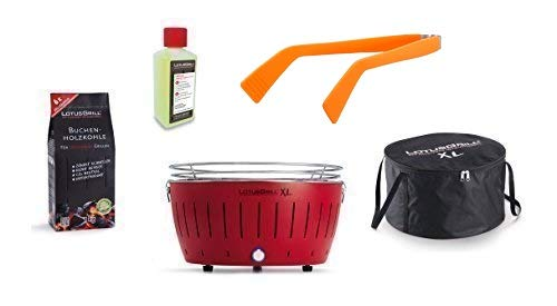 LotusGrill à Kit de Démarrage 1x LotusGrill XL Rouge feu 1x Charbon de bois de hêtre 1kg,1x Pâte brûlante 200ml,1x Pinces à saucisses Orange,1x sac de Transport XL