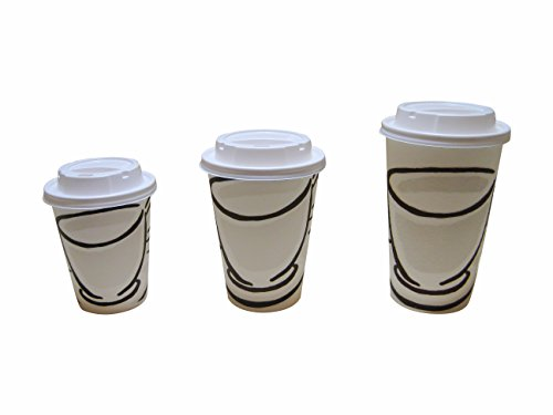Benders Milano 8oz-12oz-16oz Barrier papier jetables Tasses à café avec couvercles blancs, 12oz (340ml) 50 Pack