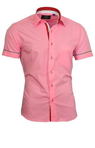 Binder de Luxe Herren Hemd Shirt modern fit mit Brusttasche Kurzarm Kentkragen 840 rosa L 42 (Rosa Slim Fit Hemd)