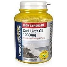 Aceite de Bacalao 1000 mg | Rico en Omega 3 y Vitaminas A y D | Grado farmacéutico | 180 cápsulas | SimplySupplements