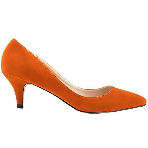 DULEE Damen Spitz Zehen Kleid Pumps High Heels Sandalen Bequeme Lack Stiletto Schuhe Abendschuhe Pfennigabsatz Pumps,Orange 38 Orange Stiletto