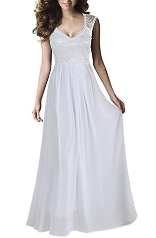 REPHYLLIS Damen Vintage Chiffon Hochzeit Brautjungfer Lang Spitzenkleider Abendkleider(XXL,Weiss)